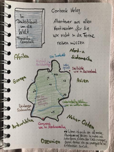 In Deutschland um die Welt von Franziska Consolati Sketchnotes zum Buch