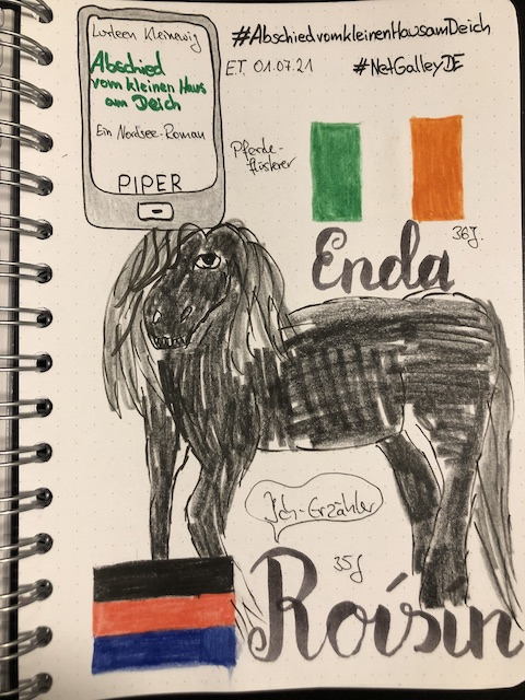 Sketchnotes zum Roman: Abschied vom kleinen Haus am Deich von Lurleen Kleinewig aus dem Piper Verlag. Unter anderem sind zu sehen die Flaggen von Irland und Ostfriesland und ein eher mäßig gezeichneter Friese (Pferd)