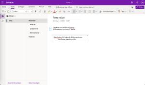 Microsoft OneNote Bildschirmfoto