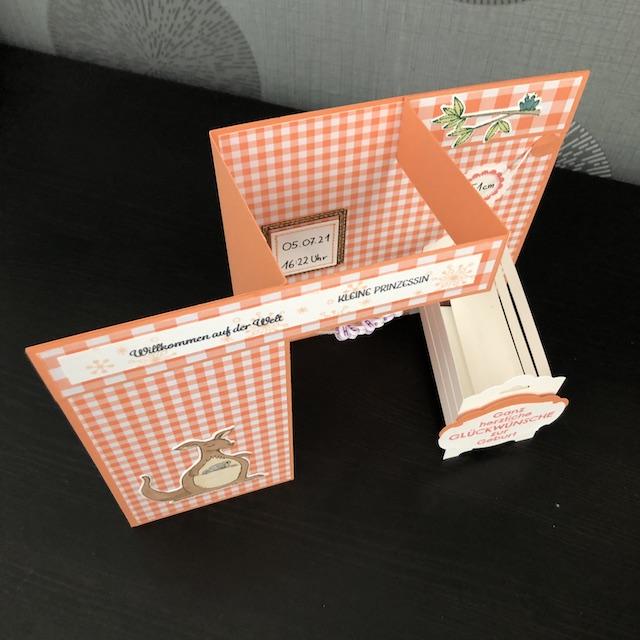 Double Z Fold Card Babykarte in Grapefruit mit Namens Kettchen, Babybett, und Daten wie Größe, Gewicht und Geburtsdatum samt Uhrzeit.