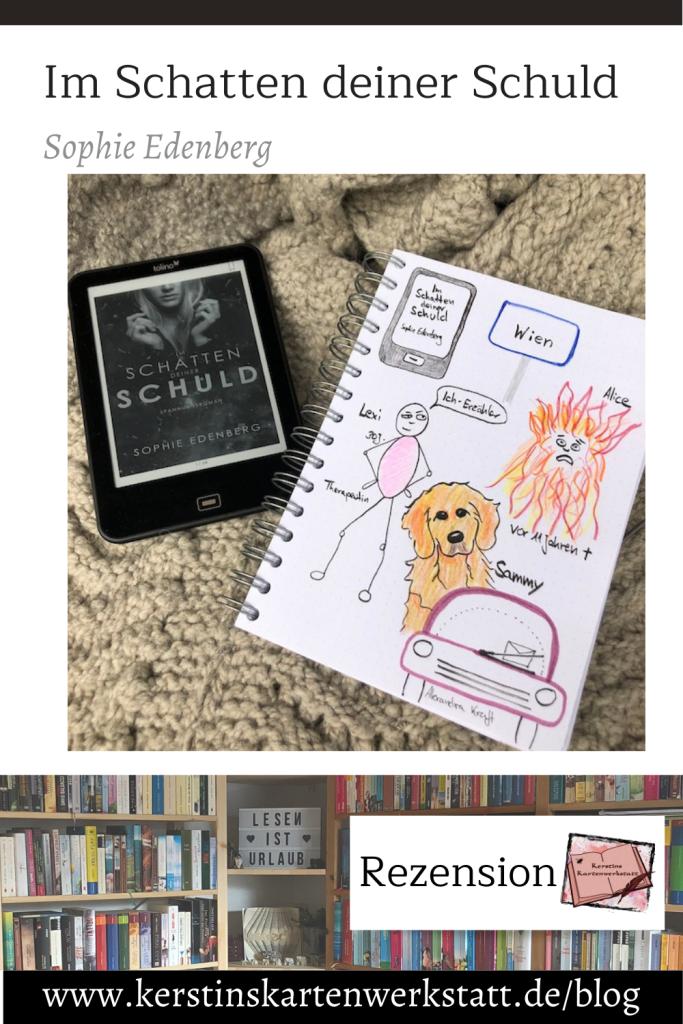 Pinterest Grafik zur Buch-Rezension: Im Schatten deiner Schuld von Sophie Edenberg. Zu sehen ist ein Foto vom Ebook und daneben Sketchnotes zum Buch. Unteranderem ein Strichmännchen und ein Hund.