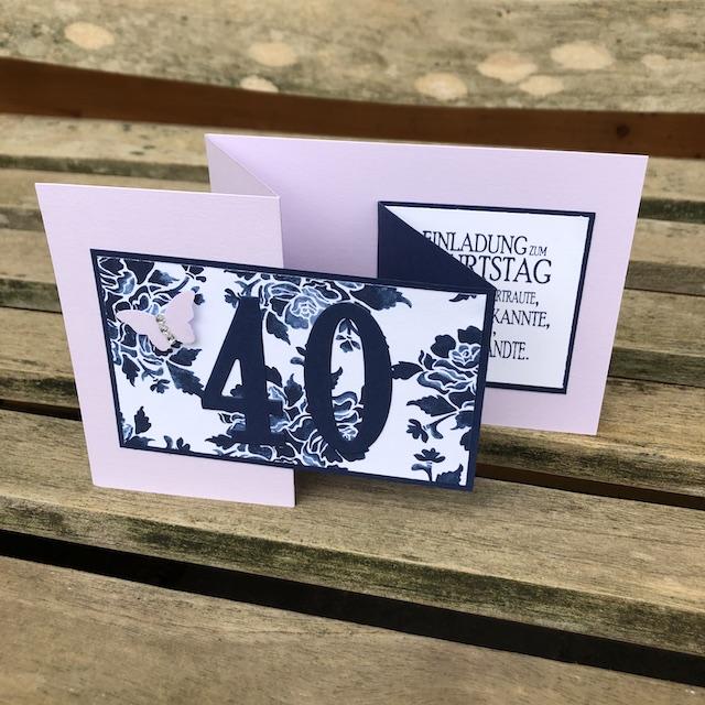 Double Z Fold Card als Einladung zum 40. Geburtstag.