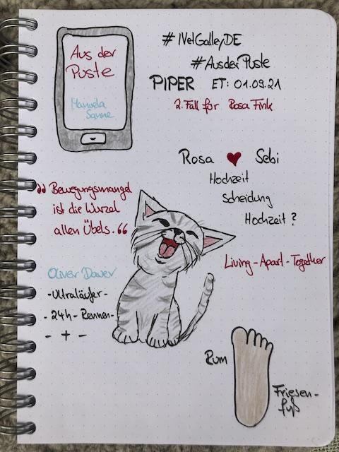 Sketchnotes zur Buch Rezension: Aus der Puste von Manuela Sanne. Zu sehen ist unter anderem eine junge gezeichnete Katze mit grauem Tigermuster und ein Fuß, der einen Keks darstellen.