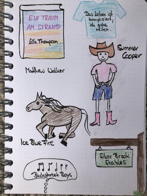 Sketchnotes zum Buch: Ein Traum am Strand von Ella Thompson. Zu sehen ist eine Seite aus dem Lesetagebuch von Kerstins Kartenwerkstatt mit Sketchnotes zum Roman. Unteranderem ist ein Pferd und ein Coxgirl gezeichnet.