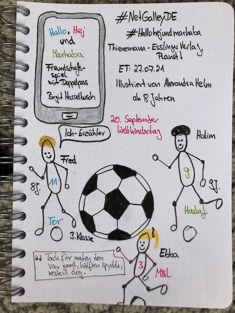 Pinterest Grafik zur Buch Rezension am Weltkindertag: Hallo, Hej und Marhaba von Birgit Hasselbach. Auf dem Buchcover ist die Erdkugel in Form eines Fußballs zusehen. Dadrüber laufen drei Kinder von den Haaren her passend zur Begrüßung im Buchtitel. Daneben ist ein Foto von Sketchnotes zum Kinderbuch. Es sind drei Strichmännchen gezeichnet und ein Fußball.